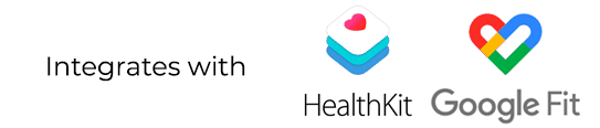 Integrates with Apple Health and Google Fit
