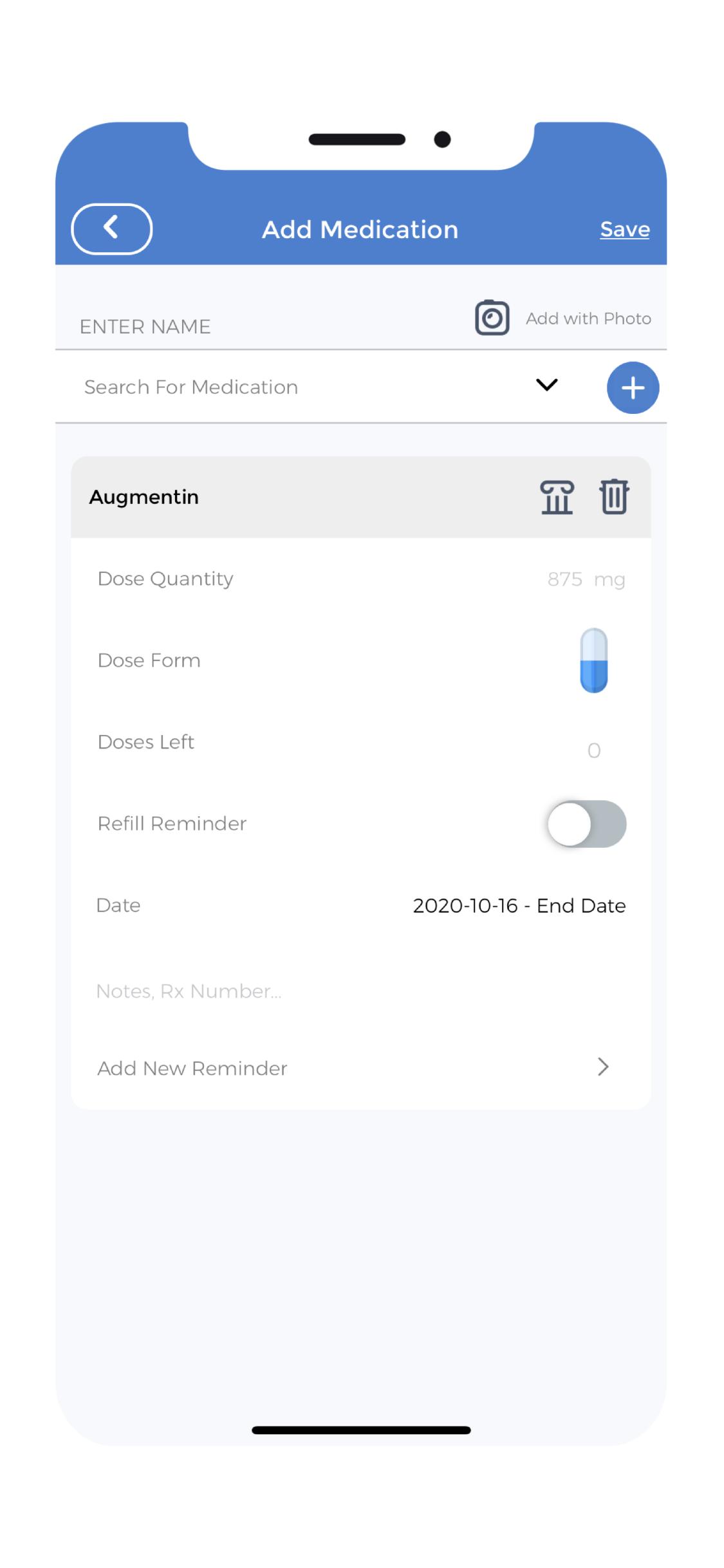 Pill Tracker App - Add Medication