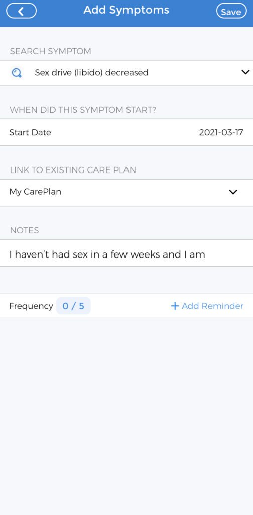 Menopause Symptom Tracker - Decreased Sex Drive tutorial