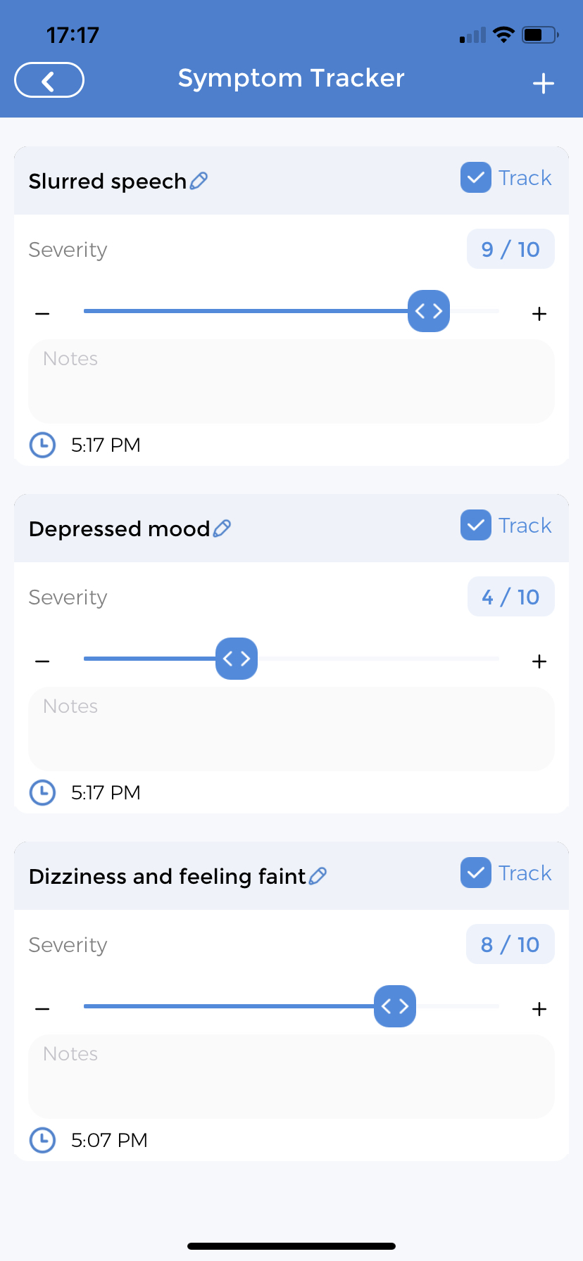 Symptom Tracker for Stroke Symptoms